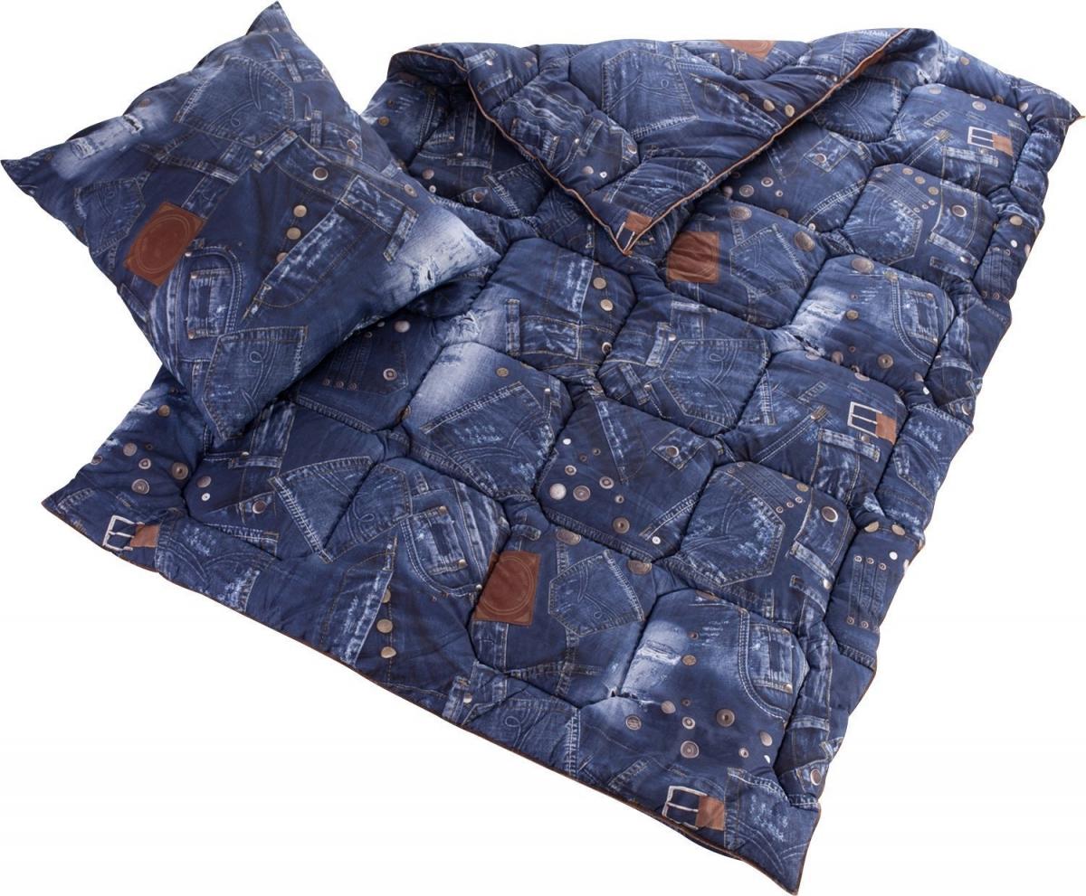 bettwaren shop betten set jeans optik 135x200 cm 80x80 cm schlaf und wohlf hltextilien von. Black Bedroom Furniture Sets. Home Design Ideas